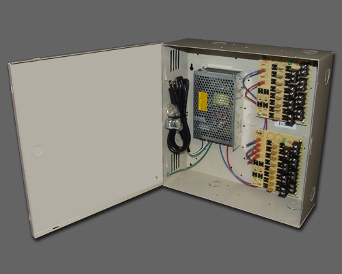 DCR 16-12-2 - 16 output PTC protected 12 amp 12VDC regulated power supply