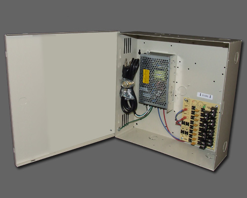 DCR 8-12-2 - 8 output PTC protected 12 amp 12VDC regulated power supply