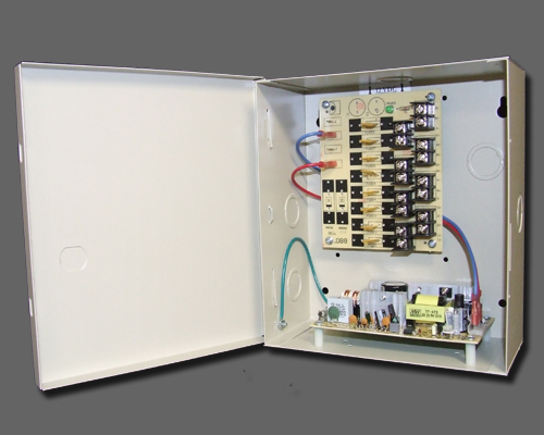 DCR 8-4-2 - 8 output PTC protected 4 amp 12VDC regulated power supply